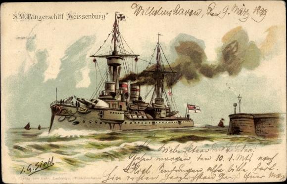 Künstler Litho Siehl, Deutsches Kriegsschiff, SMS Kurfürst Friedrich Wilhelm, Panzerschiff