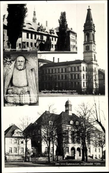 Ak Zittau, Altes Gymnasium, Johanneum, Denkmal Nikolaus von Dornspach, 350 Jahrfeier Gymnasium