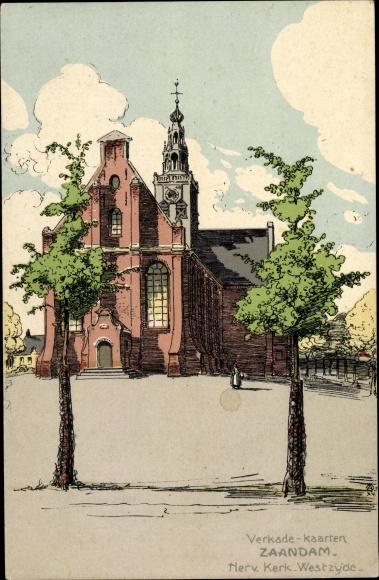 Künstler Ak Ost, A., Zaandam Zaanstad Nordholland, Herv. Kerk, Westzyde