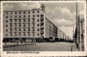 Ak Gotenhafen Pommern, Straßenpartie, Bayer