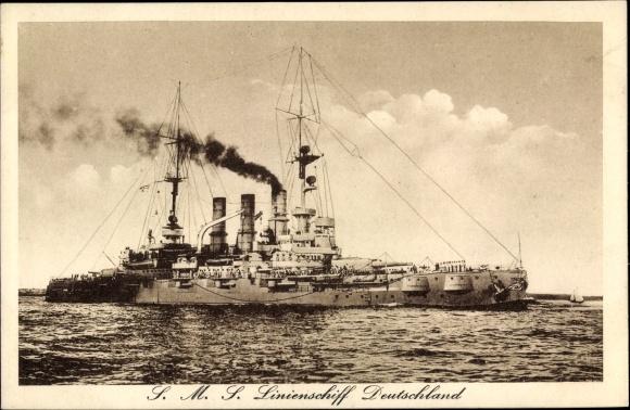 Ak Deutsches Kriegsschiff, SMS Linienschiff Deutschland