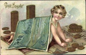 Präge Litho Glückwunsch Neujahr, Geldschein, Münzen