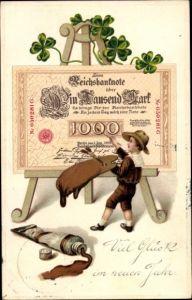 Präge Ak Glückwunsch Neujahr, Geldschein auf Staffelei, Kleeblätter