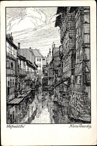 Künstler Ak Wolfenbüttel in Niedersachsen, Klein Venedig