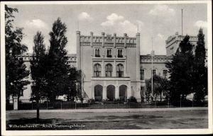 Ak Wilhelmshaven in Niedersachsen, Altes Stationsgebäude, Straßenansicht