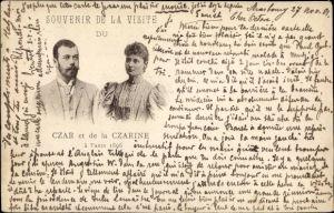 Ak Paris, Czar et la Czarine, Visite 1896, Zar Nikolaus II. von Russland, Alix von Hessen Darmstadt