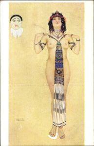 Künstler Ak Kirchner, Raphael, Les Péchés Capitaux, L'Orgueil, Frauenakt, Pierrot