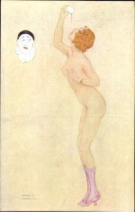 Künstler Ak Kirchner, Raphael, Les Péchés Capitaux, La Gourmandise, Frauenakt, Pierrot