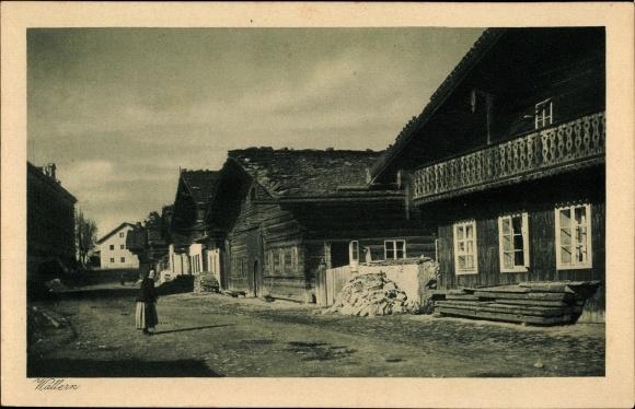 Ak Volary Wallern Südböhmen, Straßenpartie im Ort