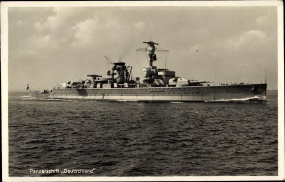 Ak Deutsches Kriegsschiff Panzerschiff Deutschland, Reichsmarine