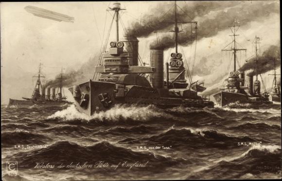 Künstler Ak Deutsches Kriegsschiff SMS von der Tann, SMS Deutschland, SMS Moltke
