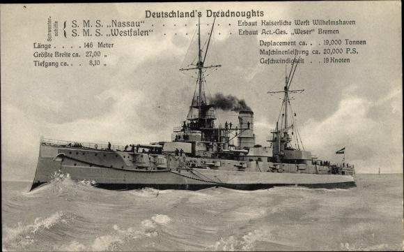 Ak Deutsches Kriegsschiff, Dreadnoughts SMS Nassau, SMS Westfalen