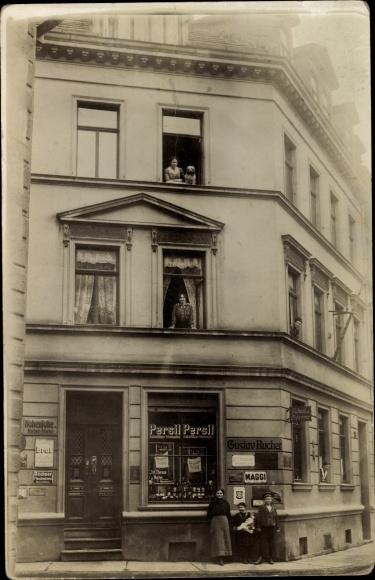 Foto Ak Erfurt in Thüringen, Marstallstraße 10, Laden Gustav Bucher,  Persil, Maggi, Büchner Bier