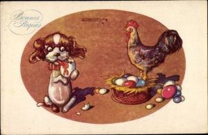 Künstler Ak Glückwunsch Ostern, Ostereiernest, Hahn, Hund