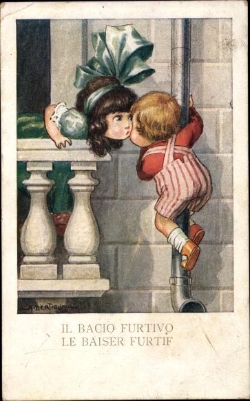 Künstler Ak Bertiglia, Aurelio, Junge klettert Regenrinne hinauf, Mädchen, Kuss