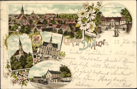 Litho Dahlen in Sachsen, Wappen, Kirche, Rathaus, Bahnhof, Schloss, Stadtpanorama
