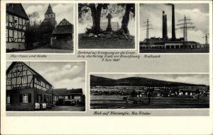 Ak Kleinenglis Borken Hessen, Pfarrhaus, Kirche, Herzog Friedrich v. Braunschweig Denkmal, Kraftwerk