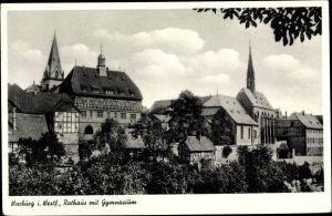 Ak Warburg Nordrhein Westfalen, Rathaus u. Gymnasium
