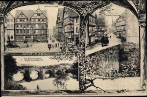 Ak Melsungen in Hessen, Alte Bürgerbrücke, Straßenpartie