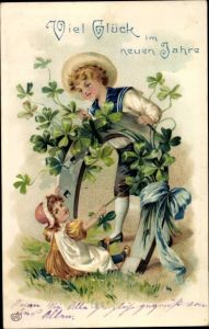 Präge Ak Glückwunsch Neujahr, Hufeisen, Kleeblätter, Kinder
