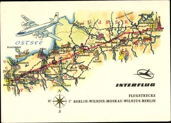 Flugstrecken Ak Interflug Flugroute Berlin Vilnius Moskau, Flugzeug, Posen, Smolensk, Minsk, Ostsee