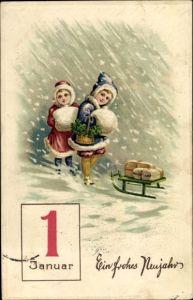 Präge Litho Glückwunsch Neujahr, Kinder, Schlitten, Kalenderblatt 1 Januar, Kleeblätter