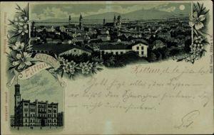 Mondschein Litho Zittau in der Oberlausitz, Panorama vom Ort, Panorama vom Ort, Rathaus