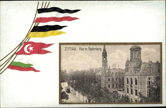 Passepartout Ak Zittau in der Oberlausitz, Post, Töpferberg, Deutschland, Österreich, Türkei
