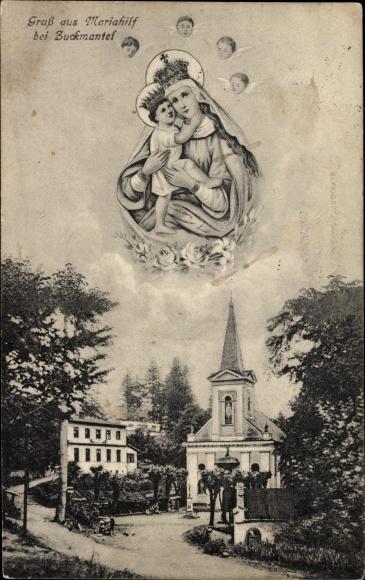 Ak Zlaté Hory Zuckmantel Reg. Olmütz, Maria Hilf, Heiligenbild