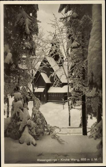 Ak Karpacz Krummhübel Riesengebirge Schlesien, Kirche Wang, Durchblick, Winter