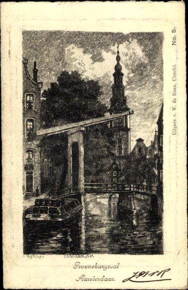 Künstler Ak Amsterdam Nordholland Niederlande, Sweneburgwal