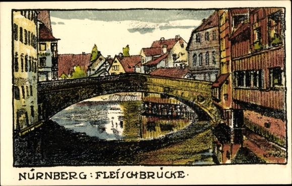 Steindruck Ak Nürnberg in Mittelfranken Bayern, Fleischbrücke