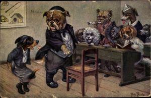 Künstler Ak Thiele, Arthur, Hundeschule, Dackel, Lehrer, Strafe