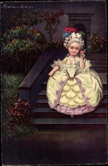 Künstler Ak Colombo, E., Mädchen auf einer Treppe