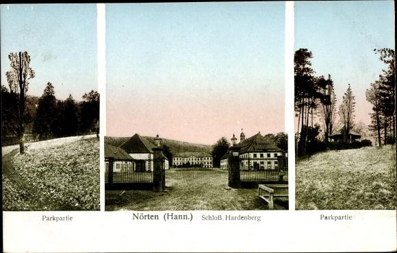 Ak Nörten Hardenberg Niedersachsen, Parkpartie, Schloss Hardenberg, Parkpartie