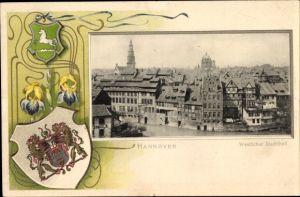Präge Passepartout Wappen Ak Hannover in Niedersachsen, Westlicher Stadtteil