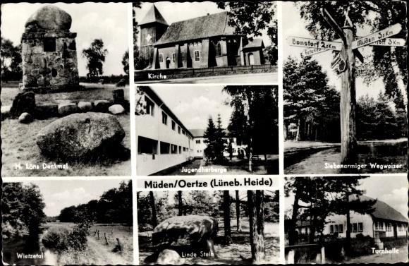 Ak Müden Örtze Faßberg Lüneburger Heide, Löns Denkmal, Turnhalle, Jugendherberge, Kirche