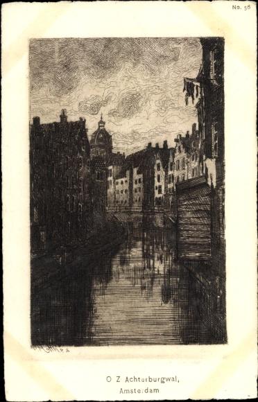 Künstler Ak Amsterdam Nordholland Niederlande, O.Z. Achterburgwal