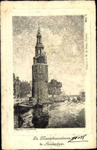 Künstler Ak Amsterdam Nordholland Niederlande, De Montelbaanstoren