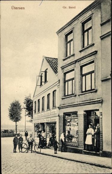 Ak Uetersen in Schleswig Holstein, Großer Sand, Geschäfte, Fahrrad