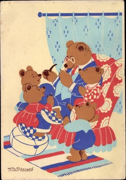 Künstler Ak Schermelé, Willy, Teddybären, De Berenfamilie