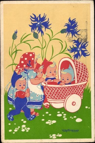 Künstler Ak Schermelé, Willy, Mutter mit Kinderwagen, Wichtel