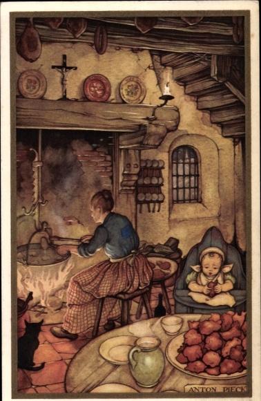 Künstler Ak Pieck, A., Oudejaarsavond, Voor het Kind 1938