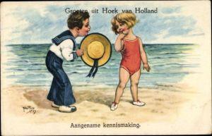 Künstler Ak Thiele, Arthur, Aangename kennismaking, Mädchen, Badeanzug, Junge, Matrosenanzug