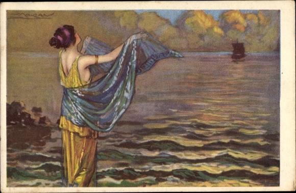 Künstler Ak Mauzan, Frau in langem Kleid winkt Segelschiff hinterher