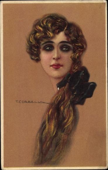 Künstler Ak Corbella, T., Frauenportrait, lange Haare, Haarschleife
