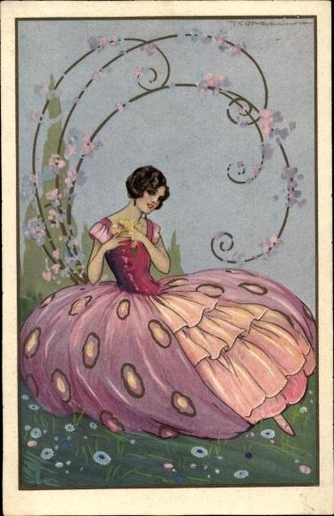 Künstler Ak Corbella, T., Frau in lila Kleid auf einer Wiese