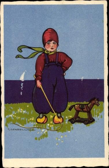 Künstler Ak Corbella, T., Junge mit Spielzeugpferd, Peitsche