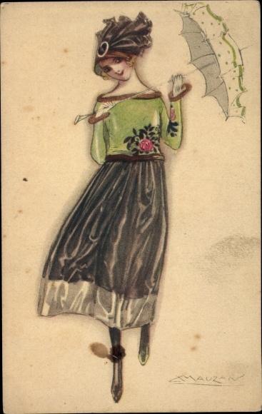 Künstler Ak Mauzan, Frau mit Sonnenschirm, Hut, Kleid