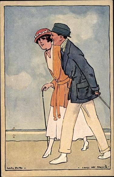 Künstler Ak Sluiter, Willy, Mann und Frau gehen am Strand spazieren